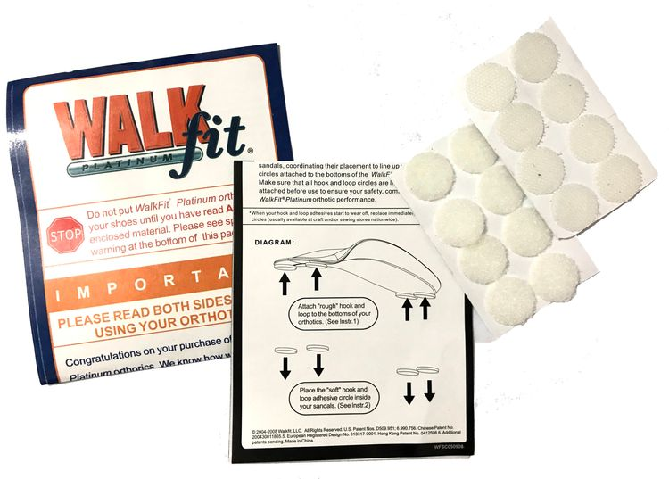 Instructions & Velcros of Walk Fit Platinum Orthotics